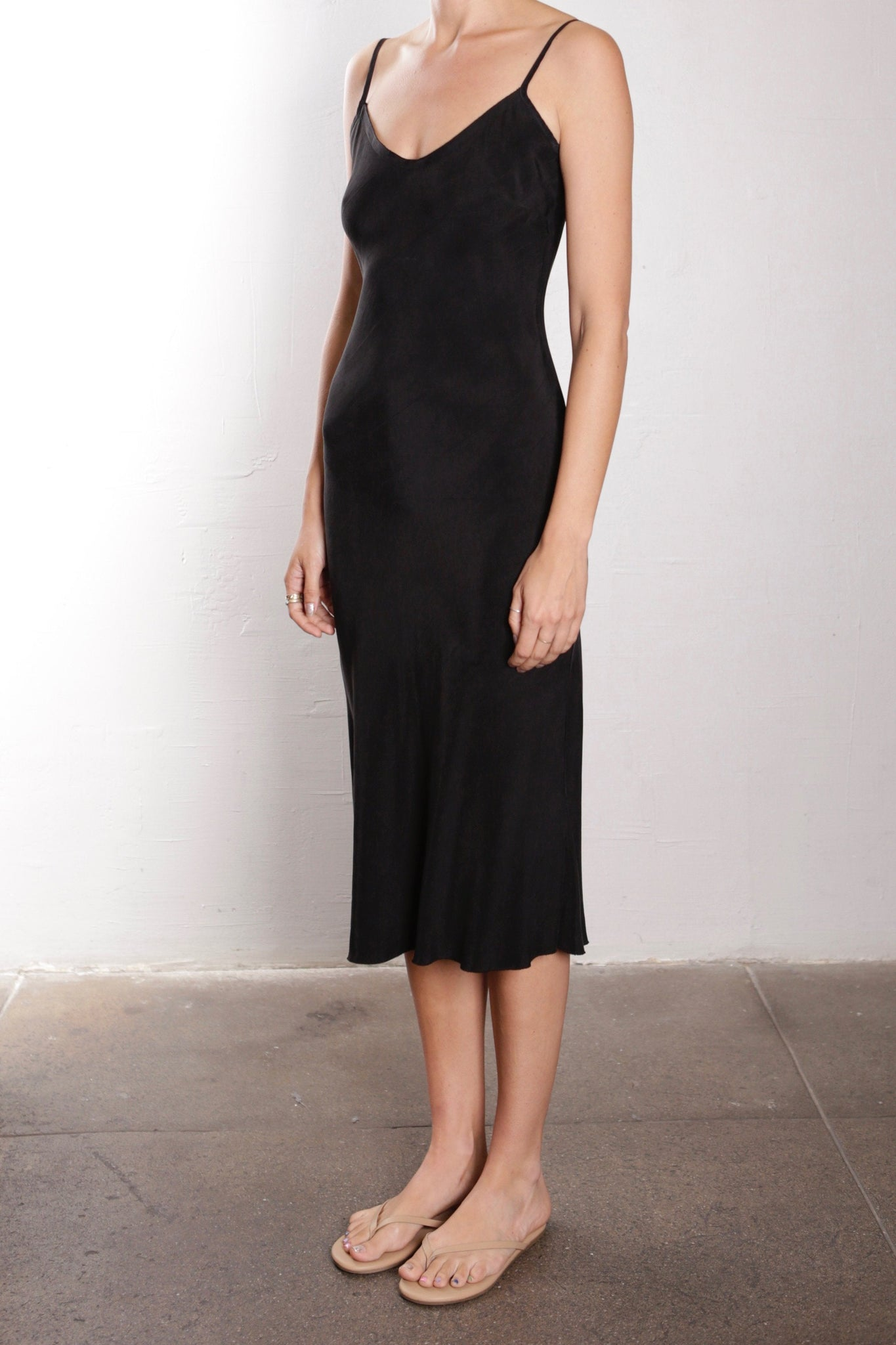 FARRAH CUPRO SLIP DRESS - Black