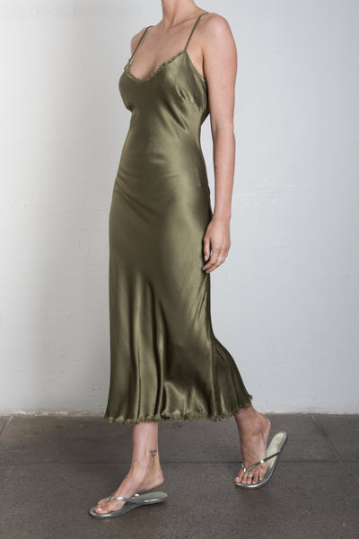 Farrah Slip Dress in Vintage Satin - OLIVE
