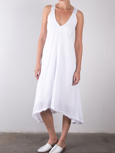 Double Gauze Trazpeze Dress / White