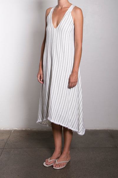 TRAPEZE DRESS - BONE / BLK
