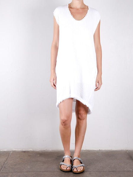 Double Cotton Gauze Cocoon Dress / White