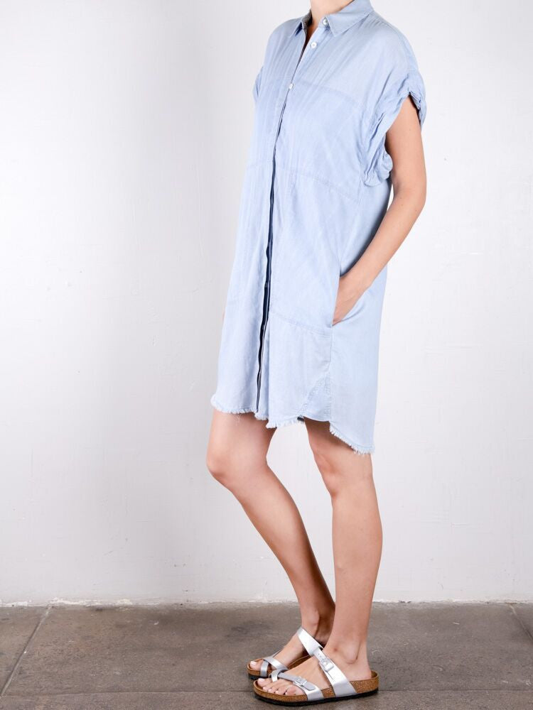 Chambray Voile Roll Sleeve Dress / Sky