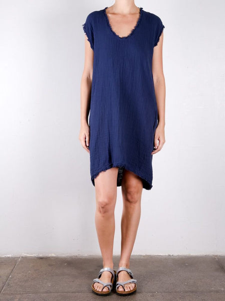 Double Cotton Gauze Cocoon Dress / Navy