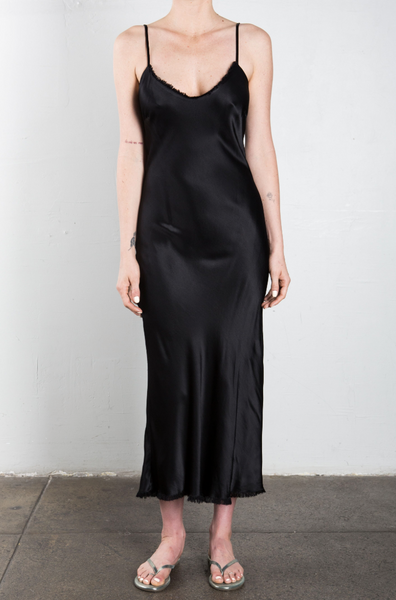 Farrah Slip Dress Vintage Satin in Black