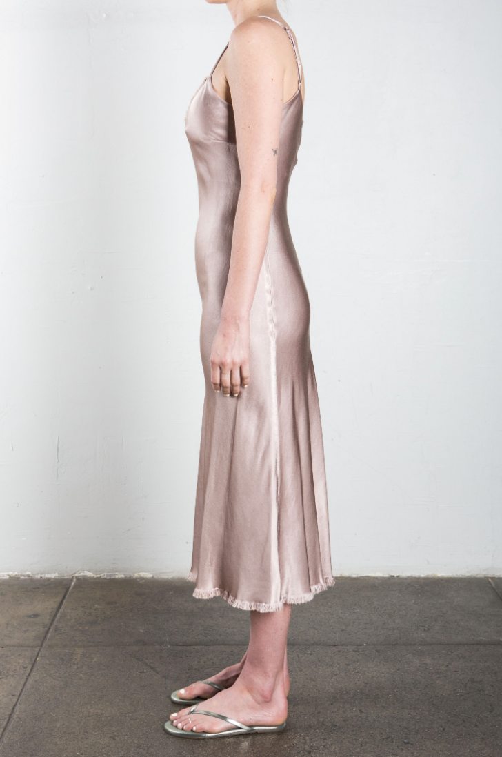 Farrah Slip Dress in Vintage Satin - Nude