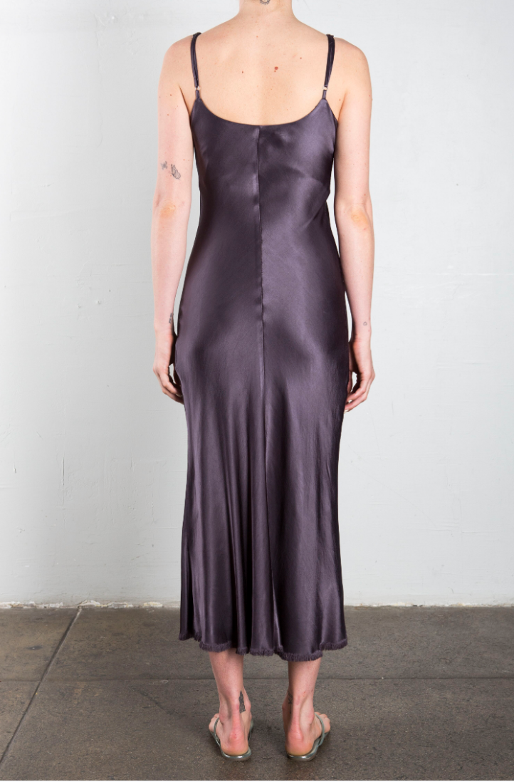 Farrah Slip Dress in Vintage Satin - Graphite