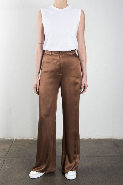 Hepburn Wide Leg Pant in Vintage Satin - Earth