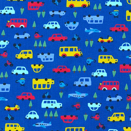 Sevenberry - Mini cars, buses, helicopters, planes on blue Japanese cotton