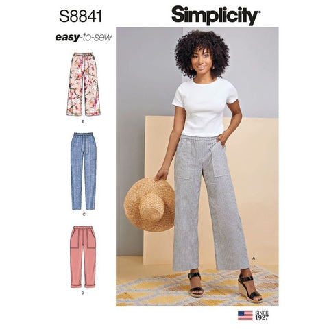 Simplicity Pattern S8841 (R5) - Misses' Pull On Pants with Slim or Wide Leg (Sizes U.S. 14-22)