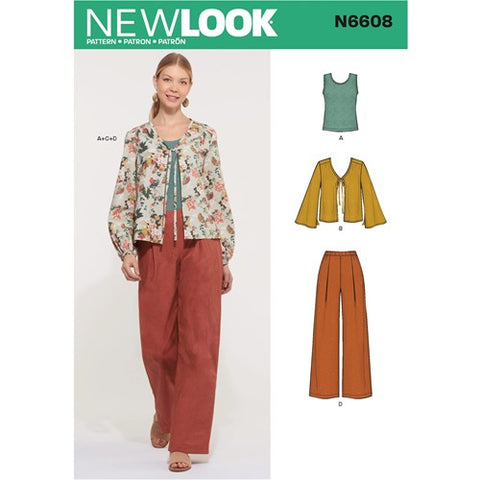 New Look Pattern 6608 (A) - Misses' Jacket, Pants and Top (Size 8 - 20)