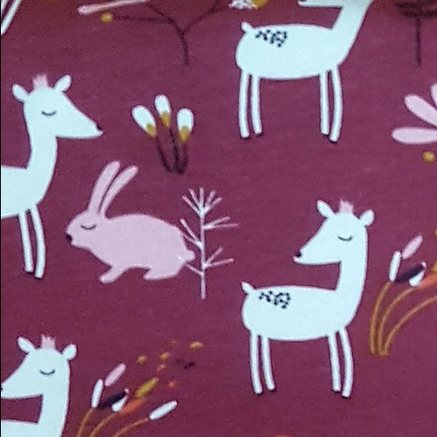 Jersey - Deer and Bunny on Soft Brown