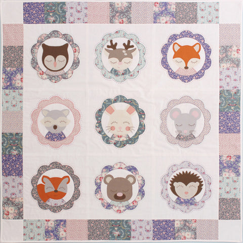 Forest Family Quilt - Woodland Animal Applique Lap Quilt