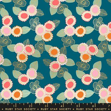 Embroidered Floral in Teal Metallic - Purl - Ruby Star Society