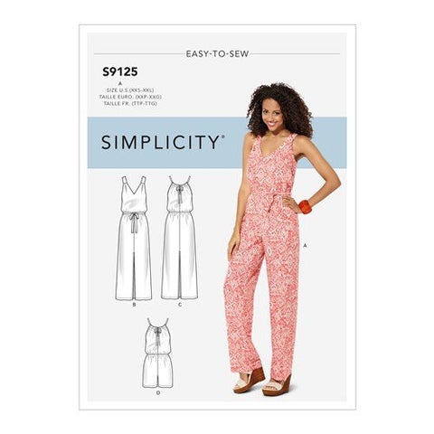 Simplicity Pattern S9125 - Misses' Maxi Dress and Long or Short Jumpsuit with Bodice Variations