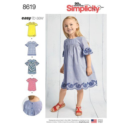 Simplicity Pattern 8619 - Child's Easy to Sew Dresses (Size 3-8)
