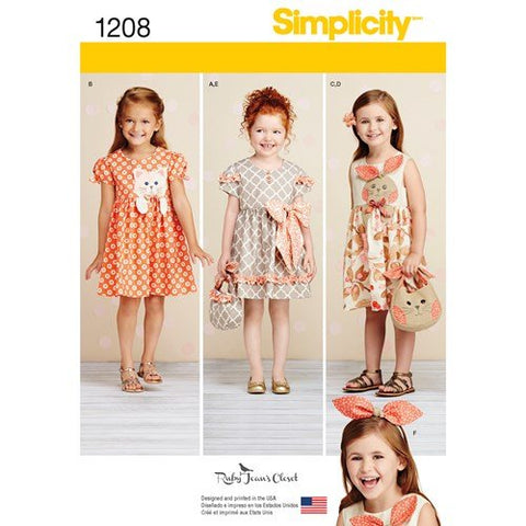 Simplicity Pattern 1208 - Child's Dresses, Purses and Headband