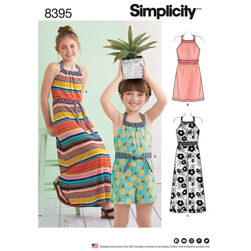 Simplicity Pattern 8395 (K5) - Child's and Girls' Halter Dress or Romper - in two lengths (size 7-14)