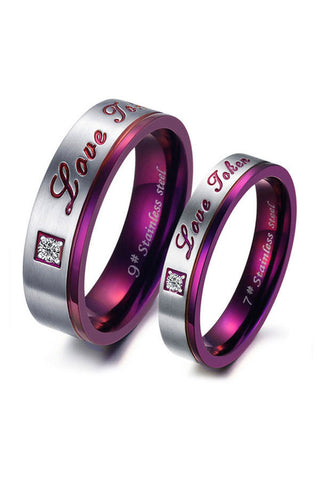 Perhiasan Cincin Couple Pasangan Vernyx Love Magenta - VERNYX