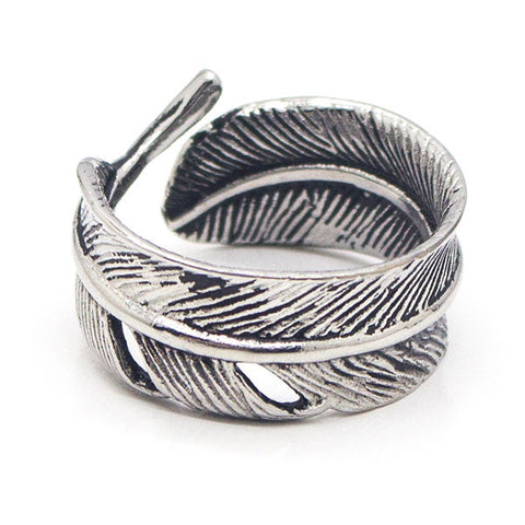 Perhiasan Cincin Gothic Pria Stainless Vernyx Twist Feather - VERNYX