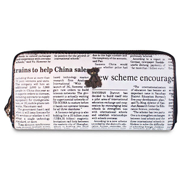 Dompet Panjang Wanita Wise Bear Newspaper - VERNYX