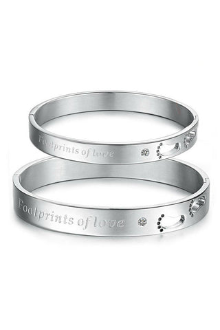 Perhiasan Gelang Couple Pasangan Stainless Vernyx Love Footprint - VERNYX