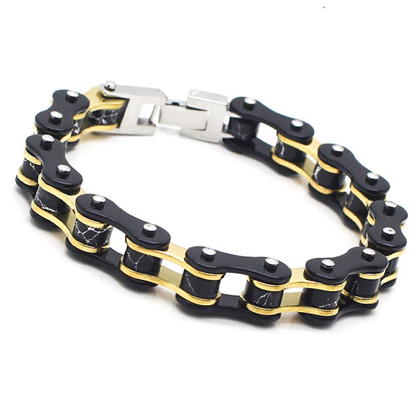 Perhiasan Gelang Stainless Pria Cracken Gold Cycle Chain - VERNYX