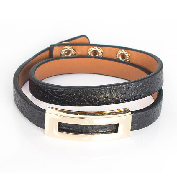 Perhiasan Gelang Leather Wanita Vernyx Symetric - VERNYX
