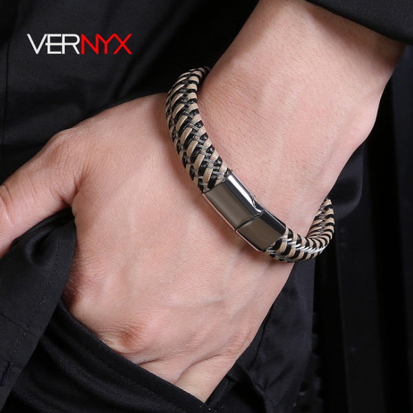 Perhiasan Gelang Leather Pria Vernyx Infussion - VERNYX