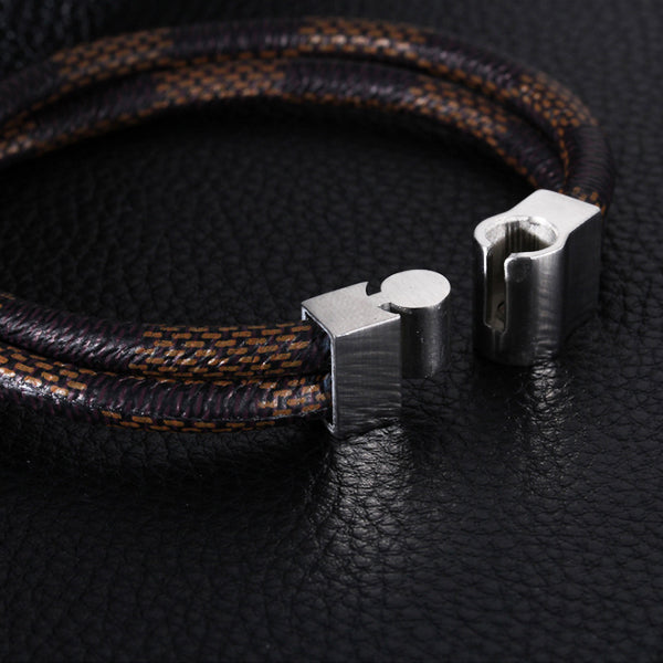 Perhiasan Gelang Leather Pria Vernyx Double Band - VERNYX