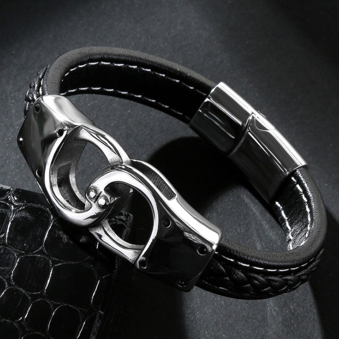Perhiasan Gelang Leather Pria Vernyx Handcuff - VERNYX