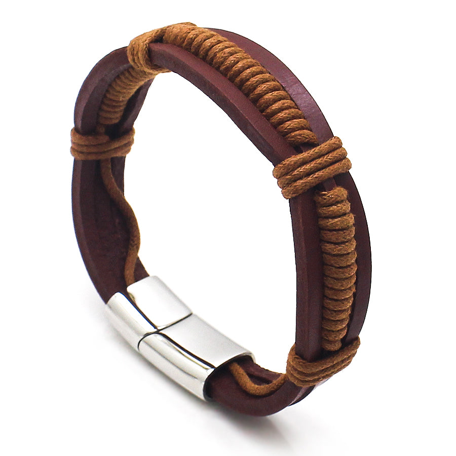 Perhiasan Gelang Leather Pria Vernyx Wellfago - VERNYX