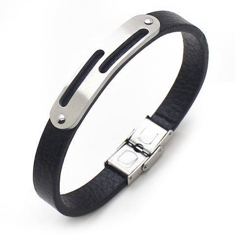 Perhiasan Gelang Leather Pria Vernyx Plate Shard