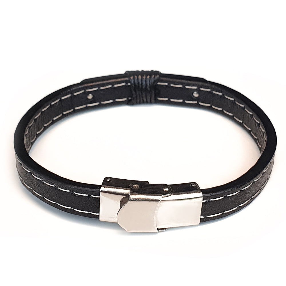 Perhiasan Gelang Pria Leather Vernyx Braid Platting