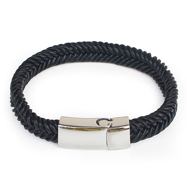Perhiasan Gelang Pria Leather Vernyx Twisted Slim - VERNYX