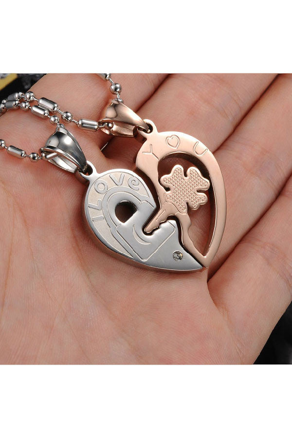 Perhiasan Kalung Couple Pasangan Stainless Vernyx Unlock Heart - VERNYX