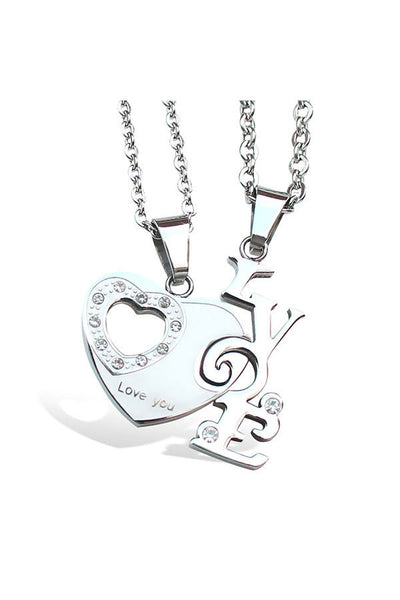 Perhiasan Kalung Couple Pasangan Stainless Vernyx Heart of Love