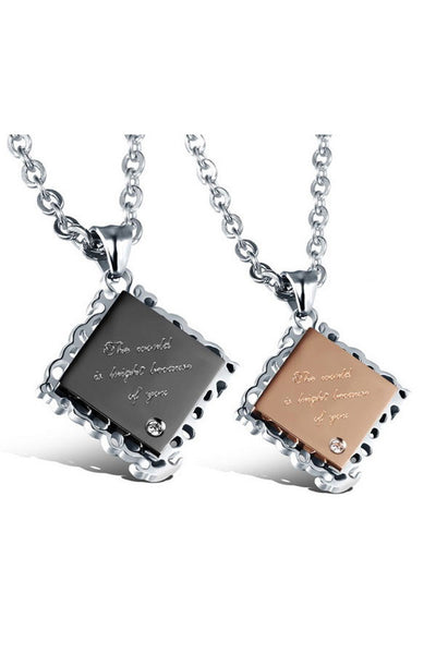 Perhiasan Kalung Couple Pasangan Stainless Vernyx Diamond - VERNYX