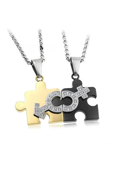 Perhiasan Kalung Couple Pasangan Stainless Vernyx Gender Jigsaw