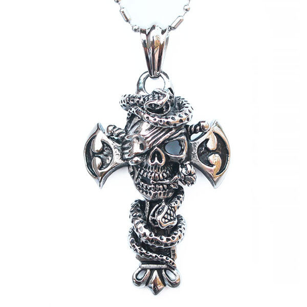 Perhiasan Kalung Gothic Stainless Pria Vernyx Cross of Damned