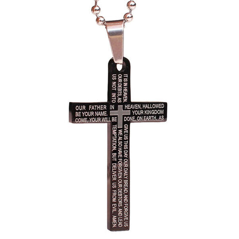 Perhiasan Kalung Salib Pria Stainless Vernyx Lord Prayer Cross - VERNYX