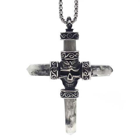 Perhiasan Kalung Salib Pria Stainless Vernyx Terraces Cross