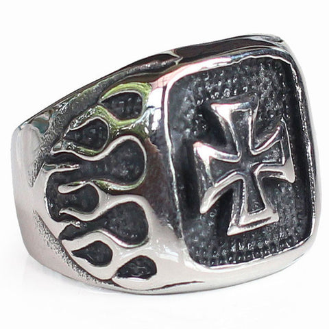 Perhiasan Cincin Gothic Stainless Vernyx Pria Burning Independent