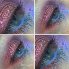 iridescent blue pink mauve eyeshadow look
