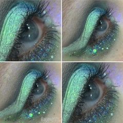 beautiful electric lime green smokey eye look