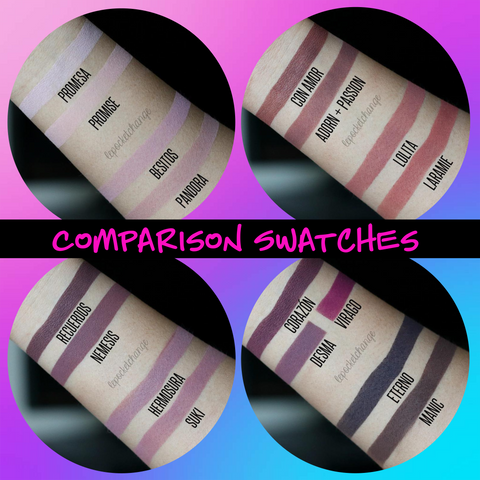 Swatch comparisons of the KVD Lolita Palette vs. Devinah Cosmetics