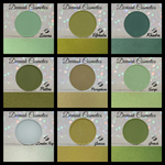Bundle set of nine green matte eyeshadows
