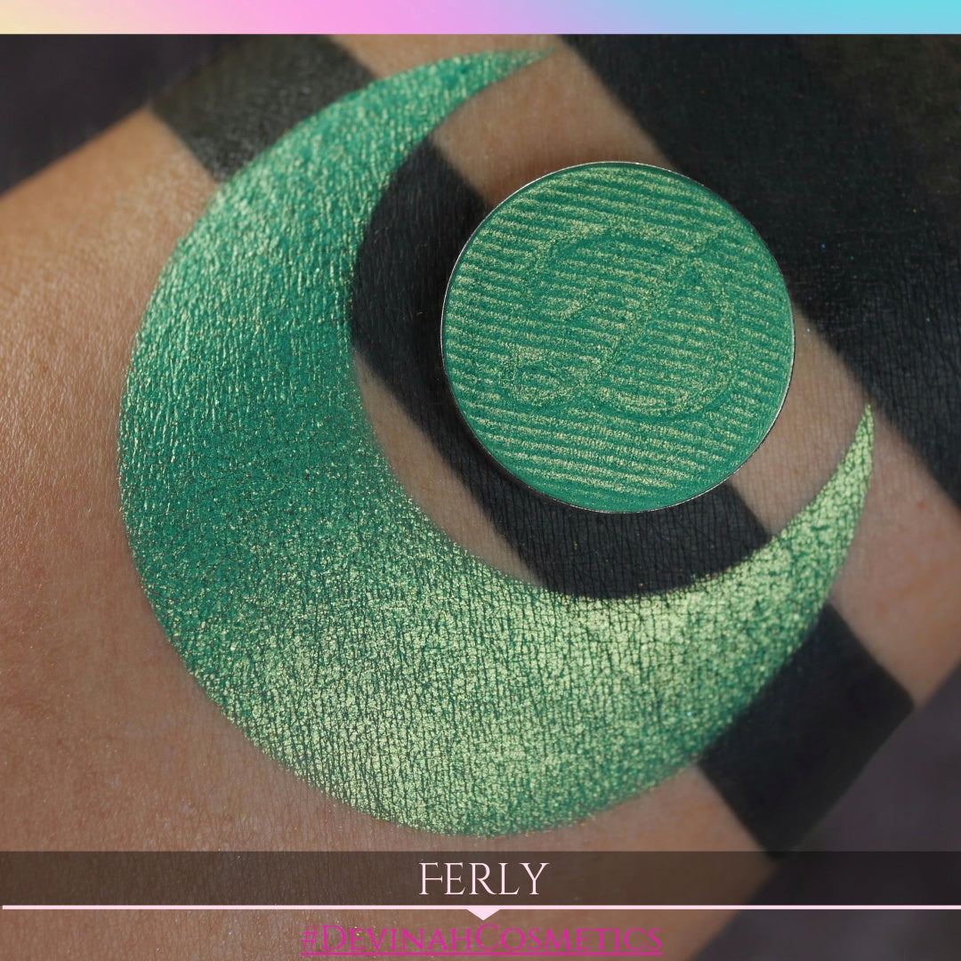 Golden grassy green shimmer eyeshadow