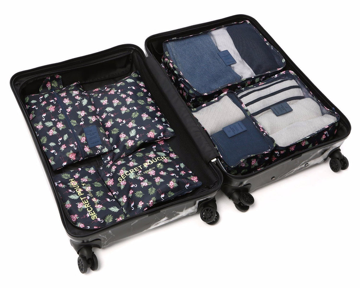 LM TRAVEL SEASON Goodies 7-In-1 Organizer Flamingo 7合1防水旅行箱收納袋