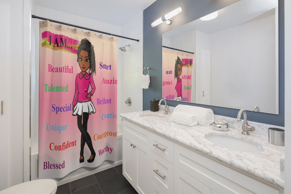 Positive Girl-Pink Shower Curtain