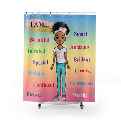 Positive Girl-Blue Shower Curtain